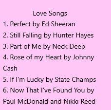 love songs correct
